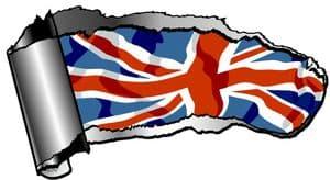 Ripped Open Gash Torn Metal Design With Union Jack British Flag Motif External Vinyl Car Sticker 140x75mm