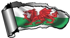 Ripped Open Gash Torn Metal Design With Welsh Dragon Wales CYMRU Flag Motif External Vinyl Car Sticker 140x75mm