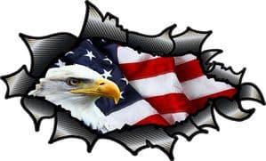 Ripped Torn Carbon Fibre Fiber Design With American Bald Eagle & US Flag Motif External Vinyl Car Sticker 150x90mm