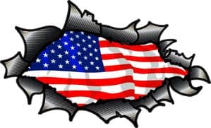 Ripped Torn Carbon Fibre Fiber Design With American Stars & Stripes US Flag Motif External Vinyl Car Sticker 150x90mm