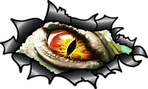 Ripped Torn Carbon Fibre Fiber Design With Evil Eye Monster Horror Motif External Vinyl Car Sticker 150x90mm