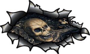 Ripped Torn Carbon Fibre Fiber Design With Evil Gothic Skull Inside Motif External Vinyl Car Sticker 150x90mm
