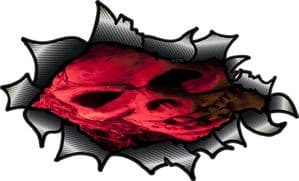 Ripped Torn Carbon Fibre Fiber Design With Evil Red Pirate Style Gothic Skull Motif External Vinyl Car Sticker 150x90mm