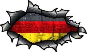 Ripped Torn Carbon Fibre Fiber Design With Germany German Flag Motif Vinyl Car Sticker 150x90mm