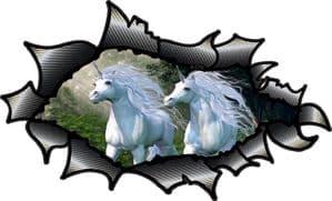 Ripped Torn Carbon Fibre Fiber Design With Mythelogical Unicorns Motif External Vinyl Car Sticker 150x90mm