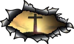 Ripped Torn Carbon Fibre Fiber Design With Religeous Christian Cross Crucifix Motif External Vinyl Car Sticker 150x90mm