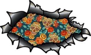 Ripped Torn Carbon Fibre Fiber Design With Tattoo Style Sugar Skull & Rose Pattern Motif External Vinyl Car Sticker 150x90mm