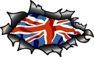 Ripped Torn Carbon Fibre Fiber Design With Union Jack British Flag Motif External Vinyl Car Sticker 150x90mm