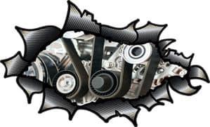 Ripped Torn Carbon Fibre Fiber Design With V8 V12 Big Block Engine Internals Motif External Vinyl Car Sticker 150x90mm