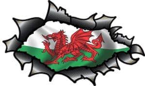 Ripped Torn Carbon Fibre Fiber Design With Welsh Wales CYMRU Flag Motif Vinyl Car Sticker 150x90mm