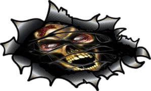 Ripped Torn Carbon Fibre Fiber Design With Zombie Style Skull Motif External Vinyl Car Sticker 150x90mm