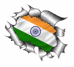 Ripped Torn Metal Design With India Indian Flag Motif External Vinyl Car Sticker 105x130mm