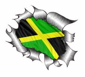 Ripped Torn Metal Design With Jamaica Jamaican Flag Motif External Vinyl Car Sticker 105x130mm