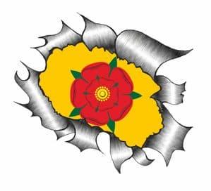 Ripped Torn Metal Design With Lancashire Rose County Flag Motif External Vinyl Car Sticker 105x130mm