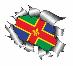 Ripped Torn Metal Design With Lincolnshire County Flag Motif External Vinyl Car Sticker 105x130mm