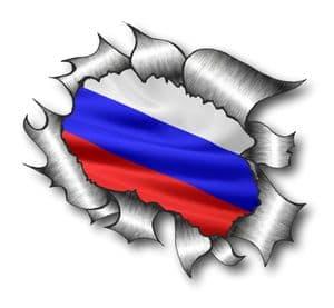 Ripped Torn Metal Design With Russia Russian Flag Motif External Vinyl Car Sticker 105x130mm
