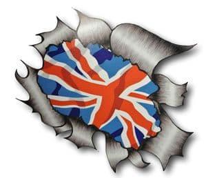 Ripped Torn Metal Design With Union Jack British Flag Motif External Vinyl Car Sticker 105x130mm