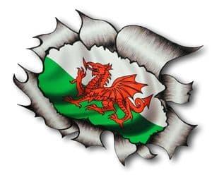 Ripped Torn Metal Design With Wales Welsh Dragon CYMRU Motif External Vinyl Car Sticker 105x130mm