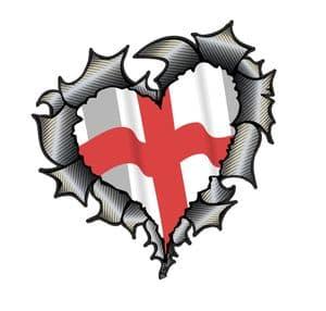 Ripped Torn Metal Heart Carbon Fibre with England English Flag Motif External Car Sticker 105x100mm
