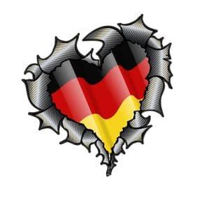Ripped Torn Metal Heart Carbon Fibre with Germany German Flag Motif External Car Sticker 105x100mm