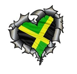 Ripped Torn Metal Heart Carbon Fibre with Jamaica Jamaican Flag Motif External Car Sticker 105x100mm