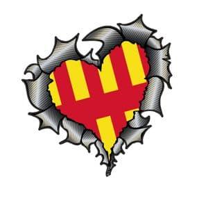 Ripped Torn Metal Heart Carbon Fibre with Northumberland Flag Motif External Car Sticker 105x100mm