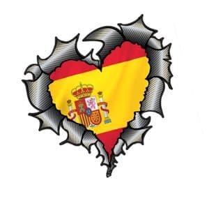 Ripped Torn Metal Heart Carbon Fibre with Spain Spanish Flag Motif External Car Sticker 105x100mm