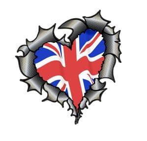Ripped Torn Metal Heart Carbon Fibre with United Kingdom British Flag External Car Sticker 105x100mm