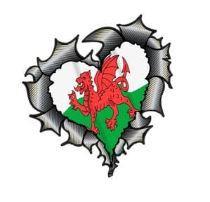 Ripped Torn Metal Heart Carbon Fibre with Wales Welsh CYMRU Flag External Car Sticker 105x100mm
