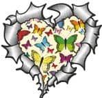 Ripped Torn Metal Heart with Cream Butterfly Pattern Motif External Car Sticker 105x100mm