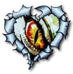 Ripped Torn Metal Heart with Evil EYE Monster Motif External Car Sticker 105x100mm