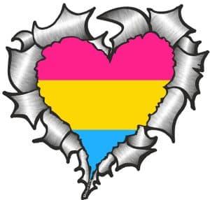Ripped Torn Metal Heart with LGBT Pansexual Pride Flag Motif External Car Sticker 105x100mm