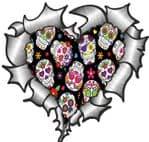 Ripped Torn Metal Heart with Mexican Sugar Skull Repeat Motif External Car Sticker 105x100mm