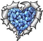 Ripped Torn Metal Heart with Pile Of Blue Skulls Motif External Car Sticker 105x100mm