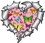 Ripped Torn Metal Heart with Pink Butterfly Pattern Motif External Car Sticker 105x100mm