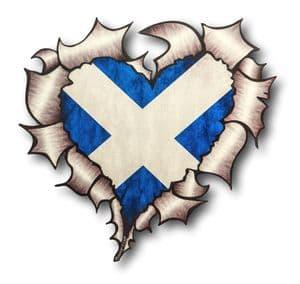 Ripped Torn Metal Heart with Scotland Scottish Saltire Flag Motif External Car Sticker 105x100mm