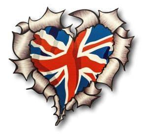 Ripped Torn Metal Heart with Union Jack British Flag Motif External Car Sticker 105x100mm