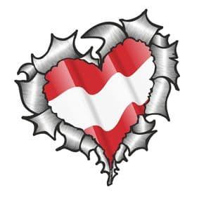 Ripped Torn Metal Heart with Waving Austria Austrian Country Flag Motif External Car Sticker 105x100mm