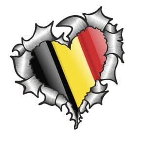 Ripped Torn Metal Heart with Waving Belgium Country Flag Motif External Car Sticker 105x100mm