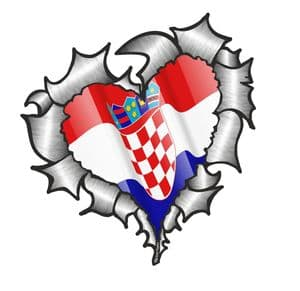 Ripped Torn Metal Heart with Waving Croatia Croatian Country Flag Motif External Car Sticker 105x100mm