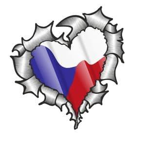 Ripped Torn Metal Heart with Waving Czech Republic Country Flag Motif External Car Sticker 105x100mm