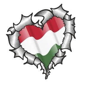 Ripped Torn Metal Heart with Waving Hungary Hungarian Country Flag Motif External Car Sticker 105x100mm