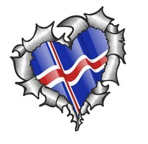 Ripped Torn Metal Heart with Waving Iceland Icelandic Country Flag Motif External Car Sticker 105x100mm