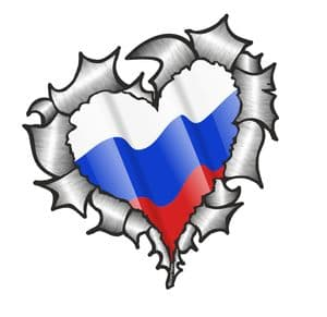 Ripped Torn Metal Heart with Waving Russia Russian Country Flag Motif External Car Sticker 105x100mm