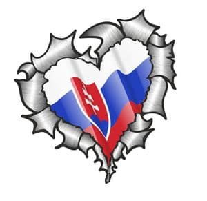 Ripped Torn Metal Heart with Waving Slovakia Slovakian Country Flag Motif External Car Sticker 105x100mm