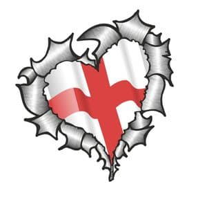 Ripped Torn Metal Heart with Waving St Georges Cross England Country Flag Motif External Car Sticker 105x100mm