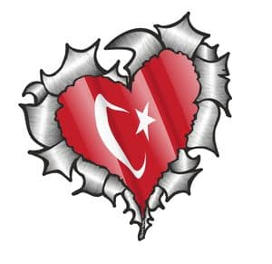 Ripped Torn Metal Heart with Waving Turkey Turkish Country Flag Motif External Car Sticker 105x100mm