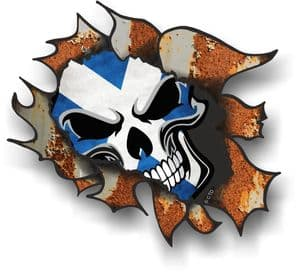 Ripped Torn Metal Rusty Design And Scotland Scottish Flag Skull Motif External Car Sticker 105x130mm