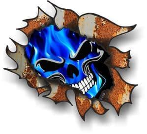 Ripped Torn Metal Rusty Design With Electric Blue Flames Skull Motif External Car Sticker 105x130mm