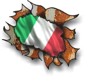 Ripped Torn Metal Rusty Design With Italy Italian Flag Motif External Vinyl Car Sticker 105x130mm